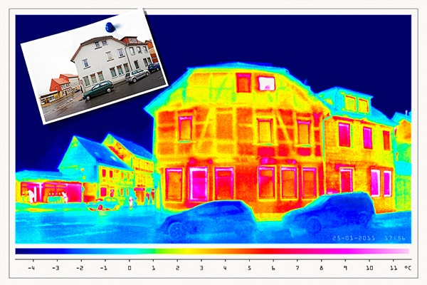 thermal imaging of shops and old houses in a small town